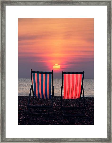 Two Deckchairs At Sunset, Beer Beach Framed Print