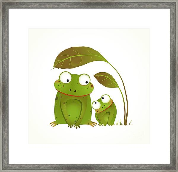 Two Frogs Mother And Baby Childish Framed Print