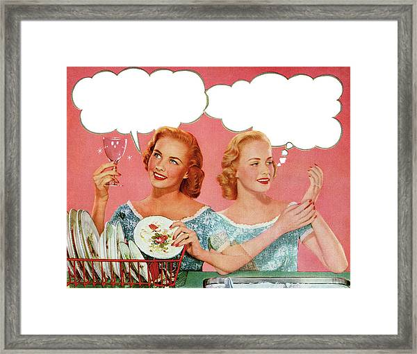 Two Housewives Washing Dishes Framed Print