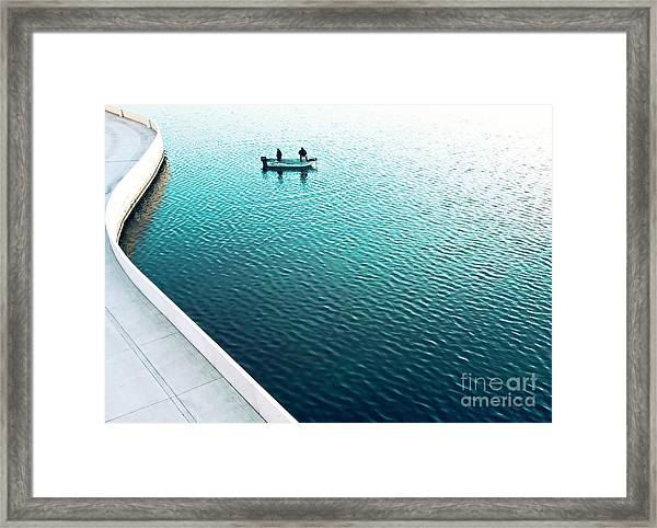 Two Men Fishing On A Lake In A Very Framed Print