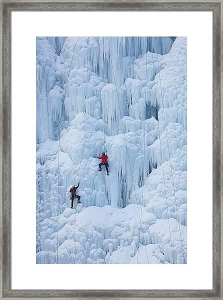 Two Men Ice Climbing Framed Print