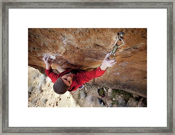 Two Men Rock Climbing Framed Print