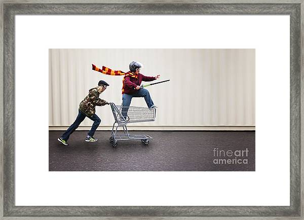 Two People Dressed Up As Super Heroes Framed Print