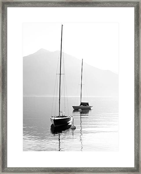 Two Sail Boats In Early Morning On The Framed Print