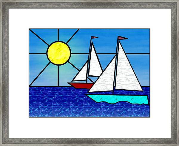 Two Sailboats Face The Sun Framed Print