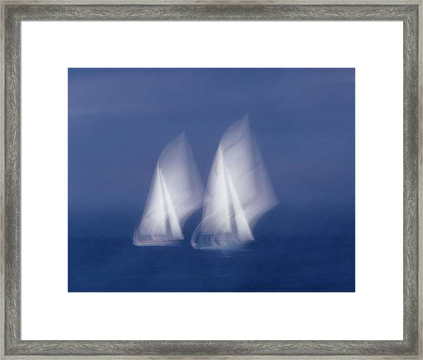 Two Sailboats In Sea, Blurred Motion Framed Print