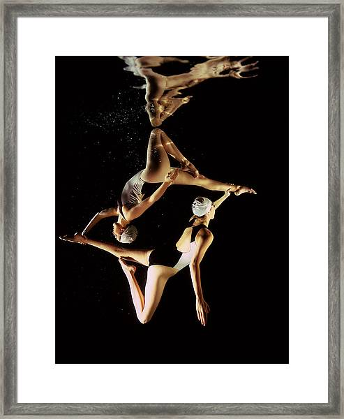 Two Synchronised Swimmers, Underwater Framed Print