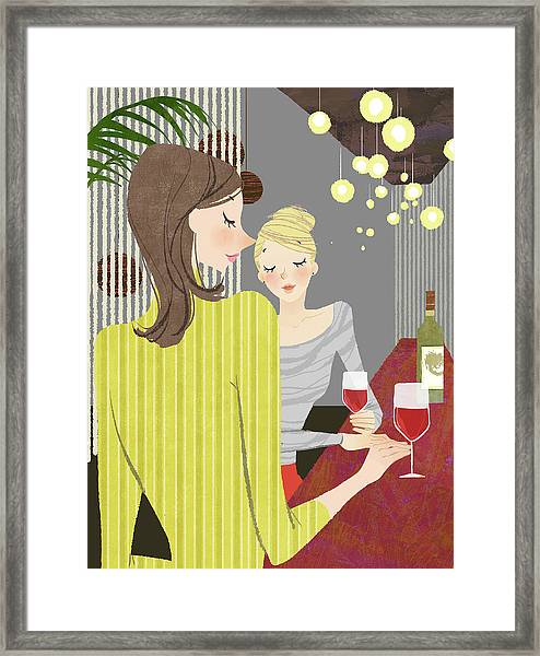 Two Woman With Wine At Bar Counter Framed Print by Eastnine Inc.