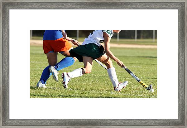 Two Women Battle For Control Of Ball Framed Print
