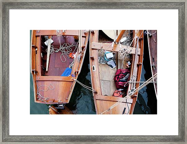 Two Wooden Sailboats Photographed From Framed Print