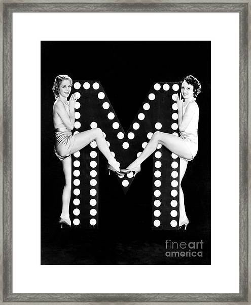 Two Young Women Posing With The Letter M Framed Print