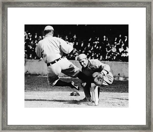 Ty Cobb Sliding Into Catcher Framed Print