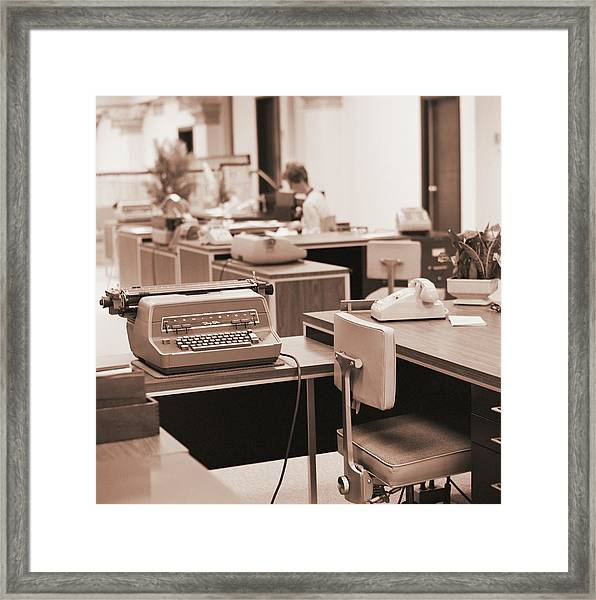 Typing Pool Workstation Framed Print