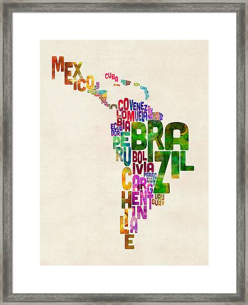 Typography Map Of Latin America, Mexico, Central And South America Framed Print