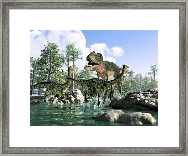 Tyrannosaurus Rex Hunting, Artwork Framed Print by Science Photo Library - Leonello Calvetti