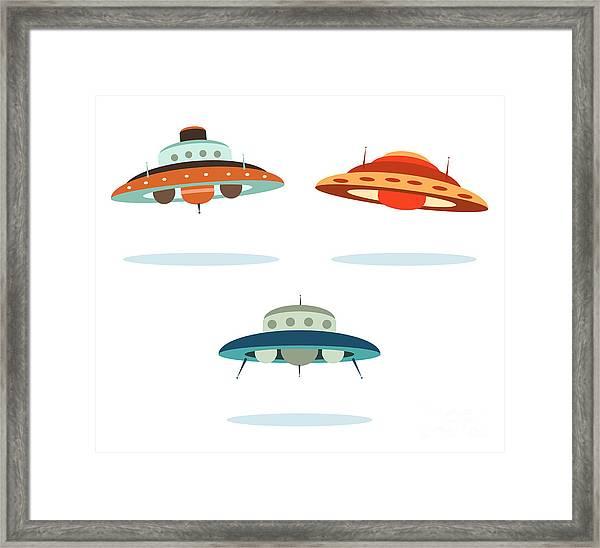 Ufo Alien Space Ships Framed Print