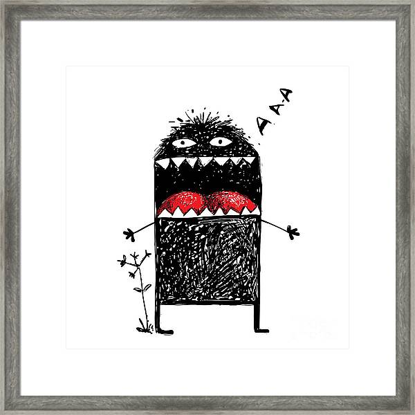 Ugly Character Monster Screaming. Black Framed Print