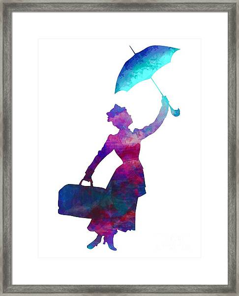 Umbrella Lady Framed Print