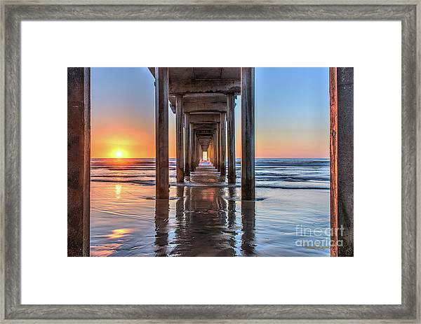 Under Scripps Pier At Sunset  ..autographed.. Framed Print