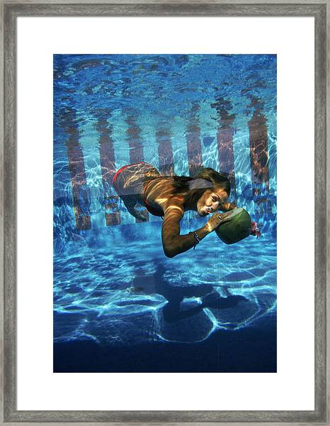 Underwater Drink Framed Print by Slim Aarons