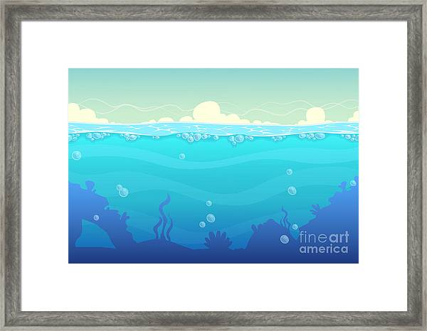 Underwater Seamless Landscape, Sea Framed Print