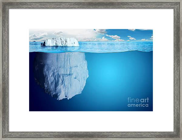 Underwater View Of Iceberg With Framed Print