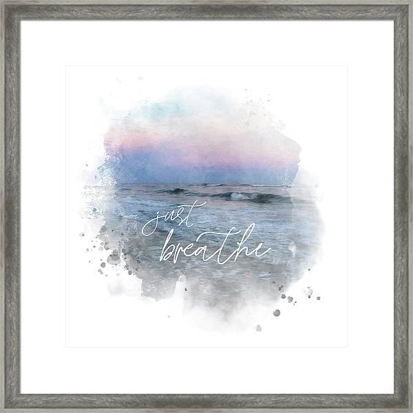 Uplifting Large Square Print, Just Breathe, Beach Sunset Framed Print