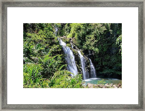Framed Print featuring the photograph Upper Waikani Falls by Dawn Richards