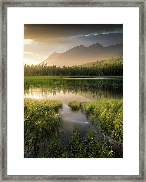 Upper Whitefish Golden Light / Whitefish, Montana  Framed Print