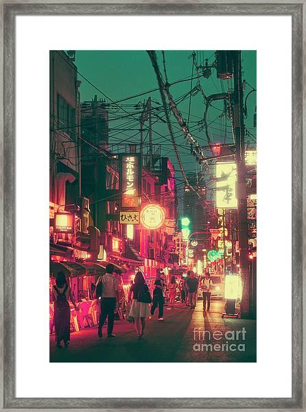 Ura Namba Street Nightlife Osaka Japan Framed Print