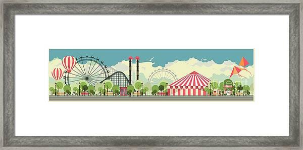 Urban Amusement Park Circus Tent Framed Print