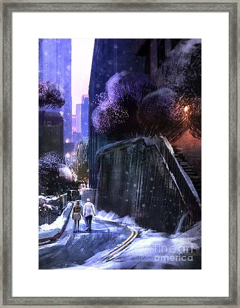 Urban Landscape With Couple Walking In Framed Print