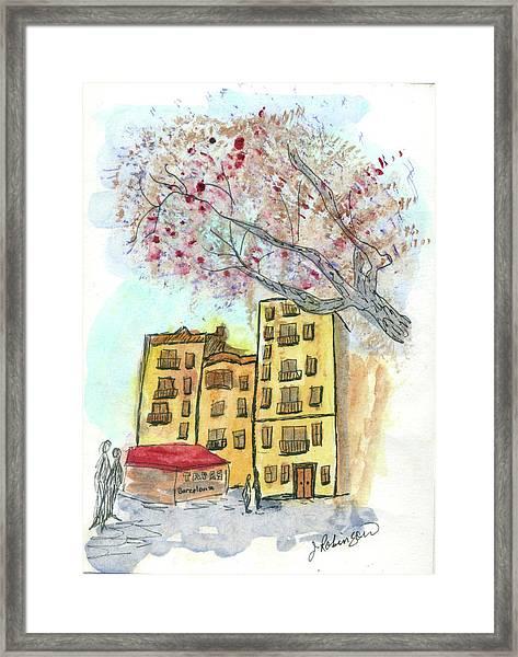 Urban Sketch In Barcelona Framed Print