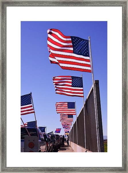 U.s. Flags, Presidents Day, Central Valley, California Framed Print