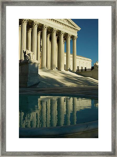 Us Supreme Court Reflection In Pool Framed Print