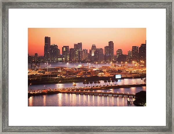 Usa, Florida, Miami, Cityscape With Framed Print