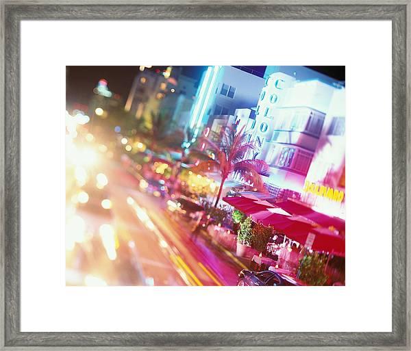 Usa, Florida, Miami, Ocean Drive, Night Framed Print