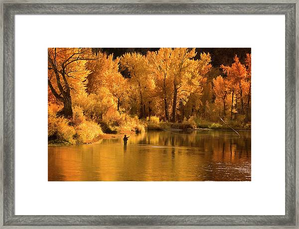 Usa, Idaho, Salmon River, Mature Man Framed Print