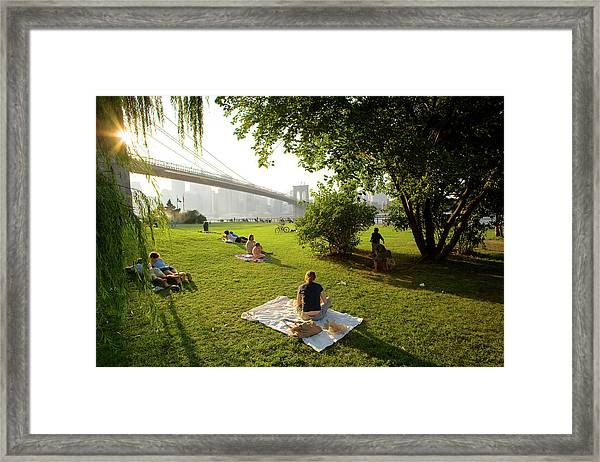 Usa, New York, People Relaxing In Park Framed Print