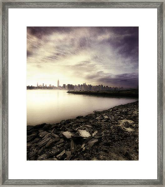 Usa, New York, View Of Manhattan From Framed Print