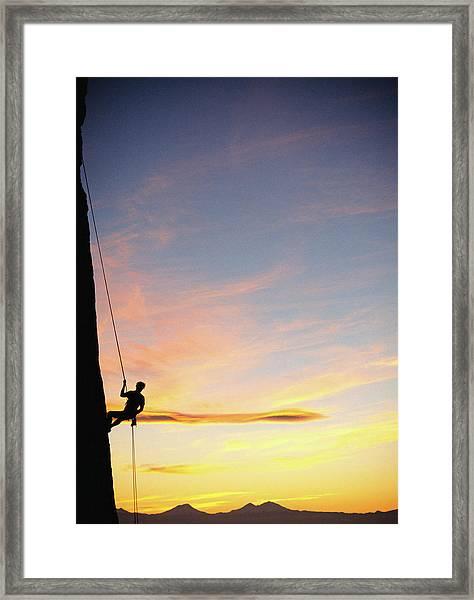 Usa, Oregon, Male Rock Climber Framed Print