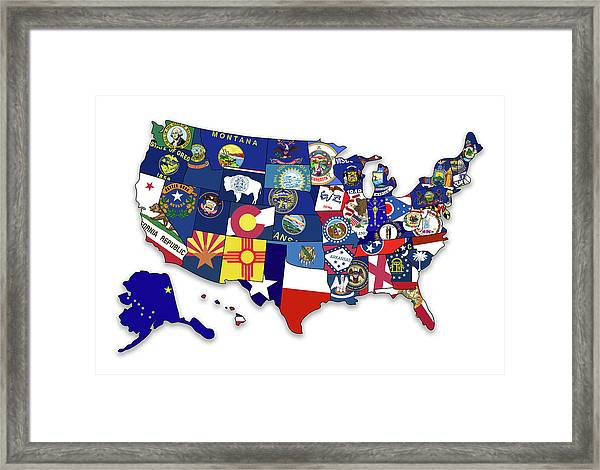 Usa States Flags Map Framed Print