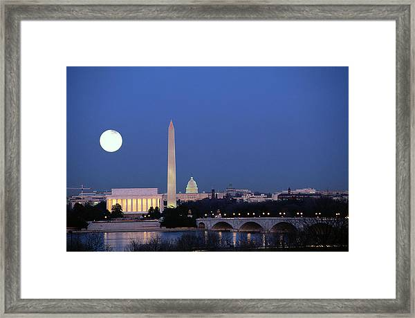 Usa, Washington Dc Skyline, Night With Framed Print