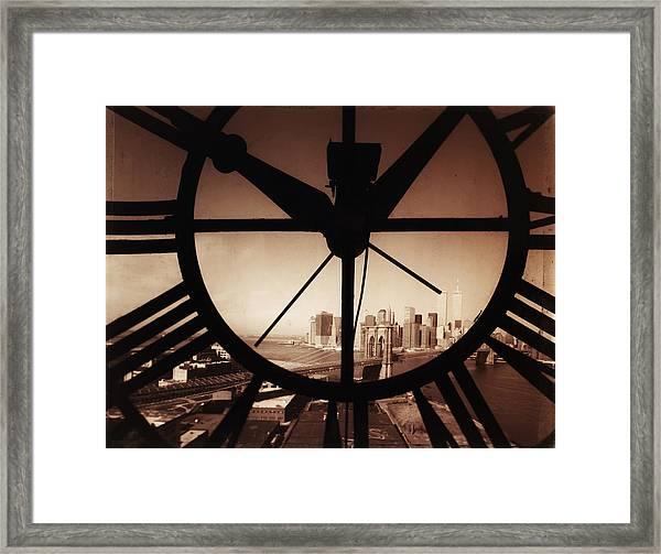 Usa,new York City, Brooklyn Bridge And Framed Print