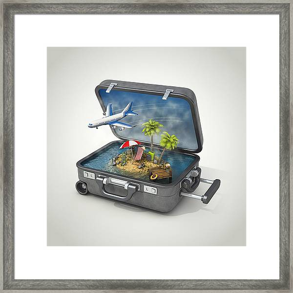 Vacation Island In Suitcase Framed Print by Pagadesign