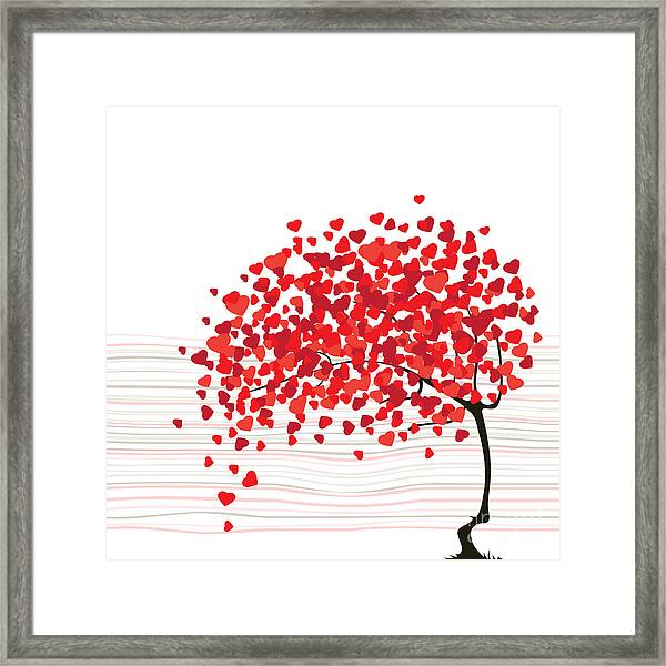 Valentines Day Abstract With Dandelion Framed Print