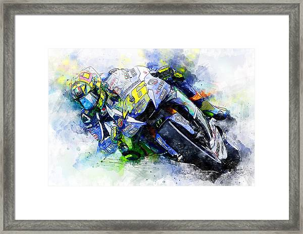 Valentino Rossi - 20 Framed Print