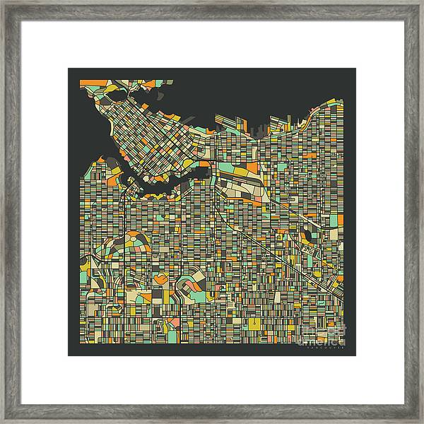 Vancouver Map 2 Framed Print by Jazzberry Blue