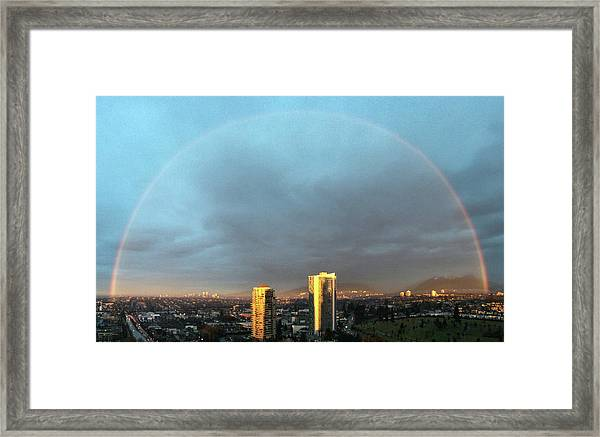Framed Print featuring the photograph Vancouver Rainbow by Juan Contreras