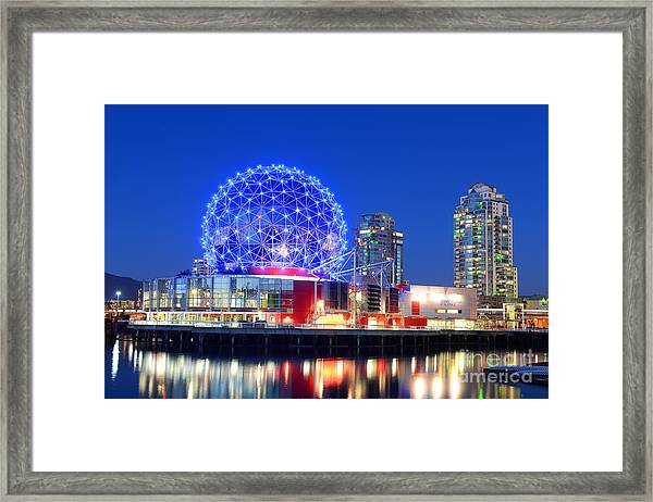 Vancouver Science World At Night Framed Print by Wangkun Jia